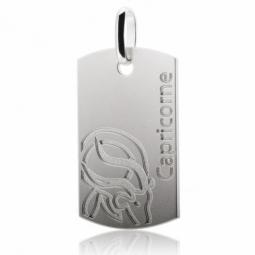 Plaque signe du zodiaque capricorne en argent rhodié brossé