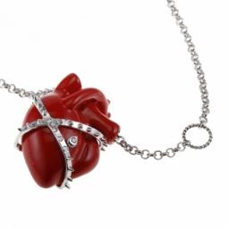 Collier en laiton coeur résine rouge et oxydes de zirconium