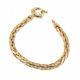 Bracelet en plaqué or, maille palmier fermoir bouée