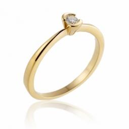 Bague solitaire en or jaune, diamant, serti demi clos