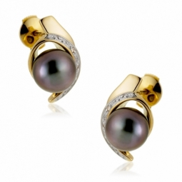 Boucles d'oreilles en or rhodié, perle de culture de Tahiti et diamants