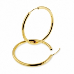 Créoles en or jaune, diamètre 35 mm