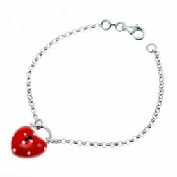 Bracelet en argent rhodié et laque, coeur cadenas