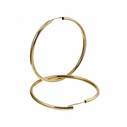 Créoles en plaqué or, fil 30/10 et diamètre 55 mm