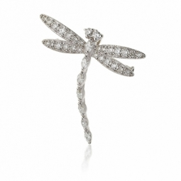 Broche libellule en or gris et diamants