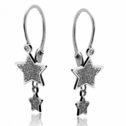 Boucles d'oreilles dormeuses en or gris motif étoile et laque pailletée