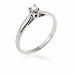 Bague solitaire en or gris, diamant, 4 griffes