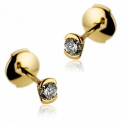 Boucles d'oreilles en or jaune, diamant , serti demi clos
