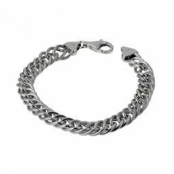Bracelet en argent rhodié maille gourmette striée