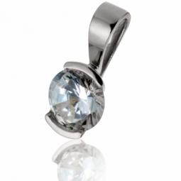 Pendentif en or gris, diamant, serti demi clos