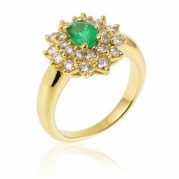 Bague en or jaune, émeraude double entourage diamants