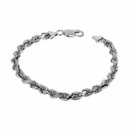 Bracelet en argent rhodié, maille corde