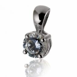 Pendentif en or gris, diamant, 4 griffes