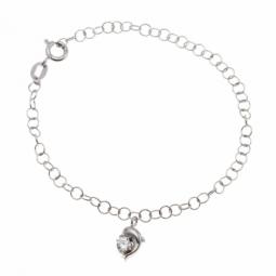 Bracelet argent rhodié, motif dauphin et oxyde de zirconium
