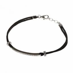 Bracelet en argent rhodié, cordon noir et oxydes de zirconium