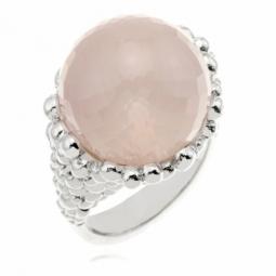 Bague en argent rhodié, quartz rose