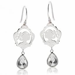 Boucles d'oreilles argent rhodié et oxyde de zirconium