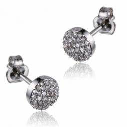 Boucles d'oreille en or gris et diamants