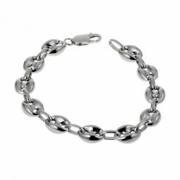 Bracelet en argent rhodié maille grain de café