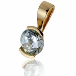 Pendentif en or jaune, diamant, serti demi clos