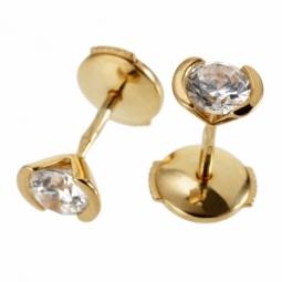 Boucles d'oreilles en or jaune, diamant, serti demi clos