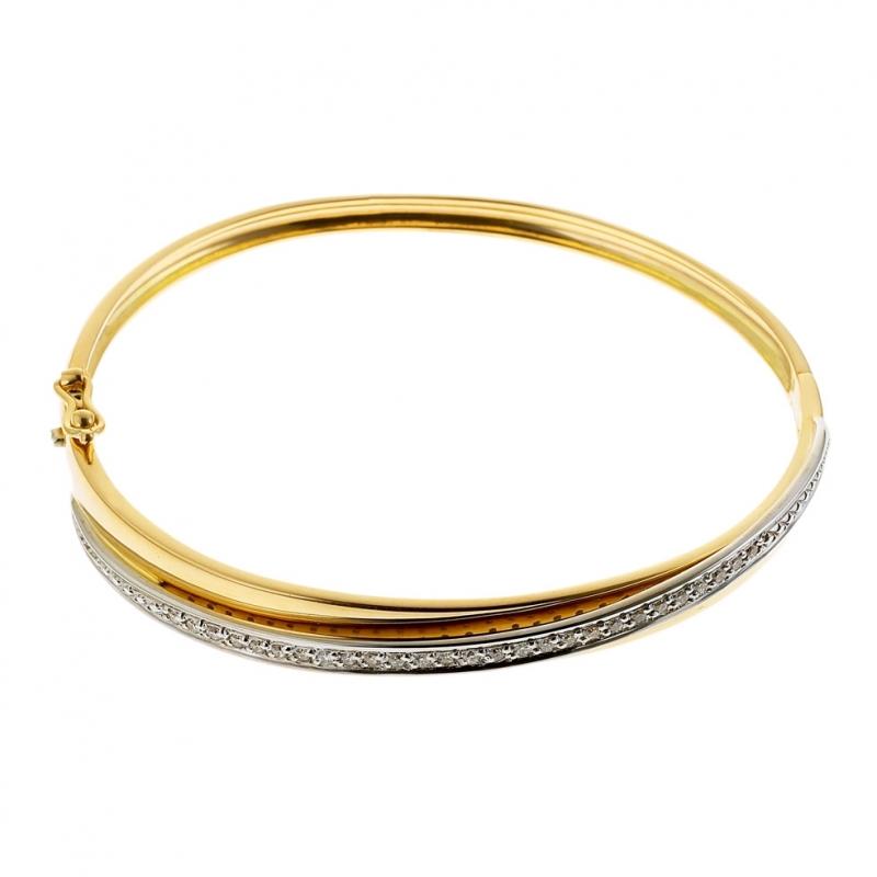 mode de vente chaude qualité supérieure jolie et colorée Achat Bracelet jonc ouvrant en 2 ors, diamants : Longueur ...
