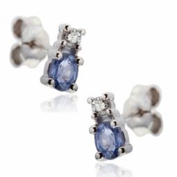 Boucles d'oreilles en or gris, saphir et diamant