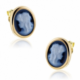 Boucles d'oreilles en or jaune, camée agate bleue.