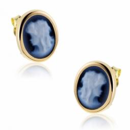 Boucles d'oreilles en or jaune, camée agate bleue