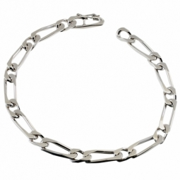 Bracelet en argent rhodié maille cheval alternée 1-1