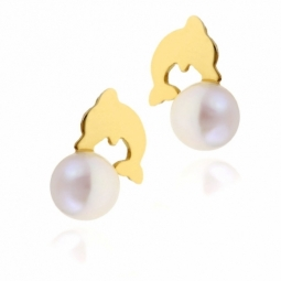 Boucles d'oreille en or jaune dauphin, perle de culture