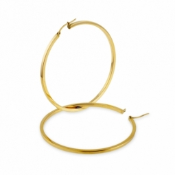 Créoles en or jaune, diamètre 55 mm , fil carré.