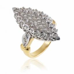 Bague marquise en 2 ors (grand modèle), diamants
