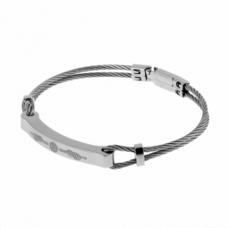 Bracelet en acier, câbles et plaque gravée motifs noeuds de marin
