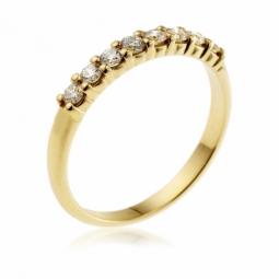 demi alliance serti 4 griffes or jaune , diamants