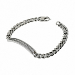 Bracelet en acier, plaque rectangle avec câble et maille gourmette