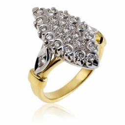 Bague marquise en 2 ors (moyen modèle), diamants