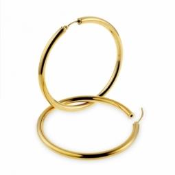Créoles en or jaune, diamètre 50 mm