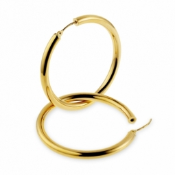 Créoles en or jaune, diamètre 40 mm.