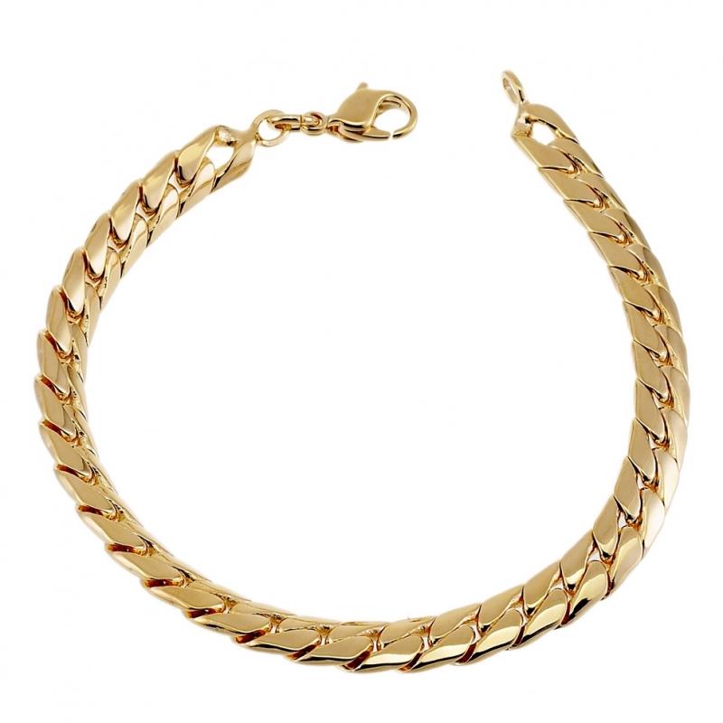 style exquis le prix reste stable haute qualité Achat Bracelet en plaqué or, maille anglaise : Longueur - 19 ...