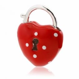 Pendentif en argent rhodié et laque, coeur cadenas