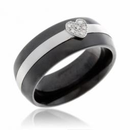 Bague en argent rhodié, céramique et diamants