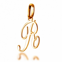 Pendentif alphabet en or jaune, lettre R