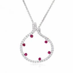 Collier en argent rhodié, rubis et oxydes de zirconium