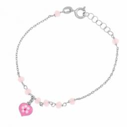 Bracelet en argent rhodié, laque et cristaux de synthèse