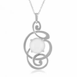 Collier en argent rhodié, pierre de lune