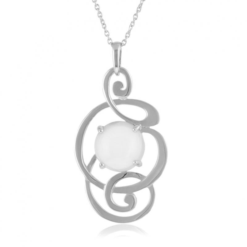 Achat Collier en argent rhodié, pierre de lune   Longueur - 42 Femme ... 83baa7fed150