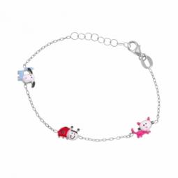 Bracelet en argent rhodié et laque, chien, chat et coccinelle
