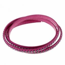 Bracelet en cuir, acier et cristaux de synthèse