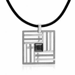 Collier en acier, cuir et oxyde de zirconium